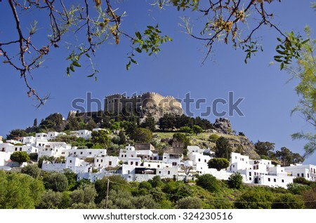 Historical Fortress in Lindos resort , Rhodes island, Greece - stock photo