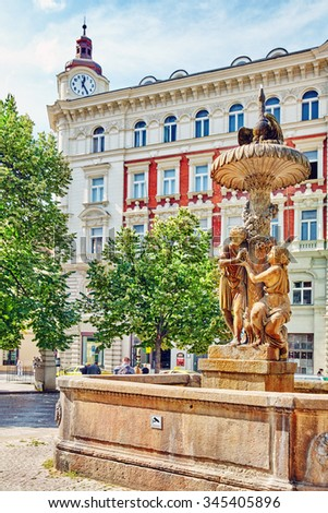 Historical fountain  and views of Prague, architectural, street, life of the Czech capital. Czech Republic. - stock photo