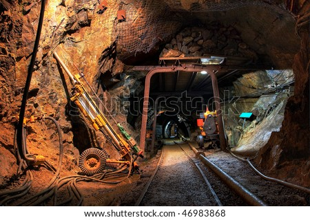 Historical gold, silver, copper  mine - stock photo