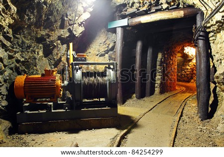 Historical gold, silver, copper mine with machine - stock photo