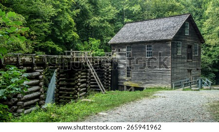 Historical Grist Mill. Historical Grist Mill located on the Roaring Fork Motor Nature Trail in the Great Smoky Mountains National Park. - stock photo
