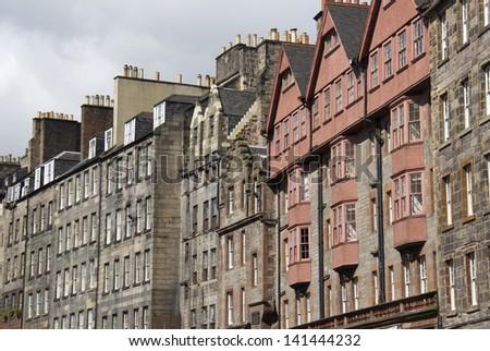 Historical houses on the Royal Mile in Edinburgh, Scotland, UK - stock photo