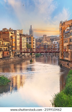 historical jewish quarter in Girona, view of the river, Barcelona, Spain, Catalonia - stock photo