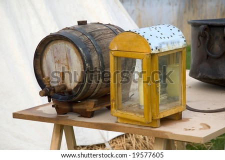 historical lamp and wine barrel