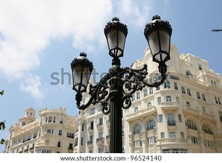 Historical lamp on the streets of Valencia - stock photo