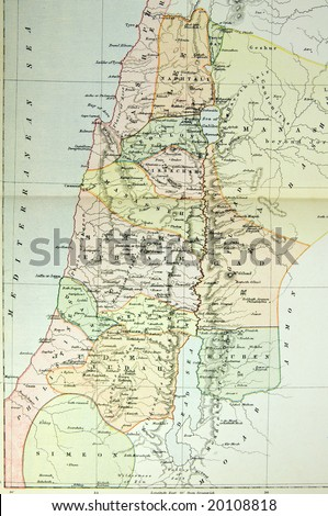 Historical map of Palestine (Ancient Israel). Photo from atlas published in 1879 in Great Britain. - stock photo
