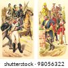 Historical military uniforms from Russia - 1650-1800 (right) and 1800-1815 (left) / vintage illustration from Meyers Konversations-Lexikon 1897 - stock photo