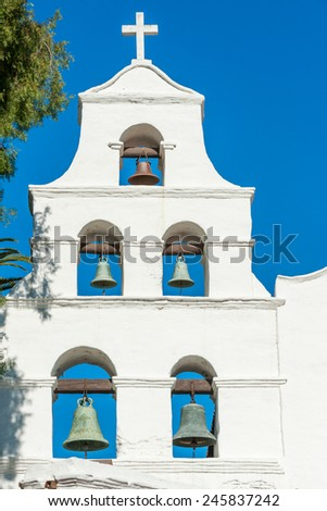 Historical mission Basilica San Diego de Alcala, California - stock photo