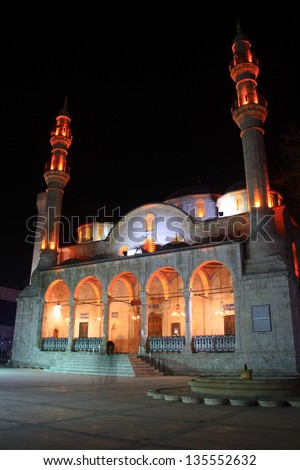 historical mosque in Malatya photographed at evening