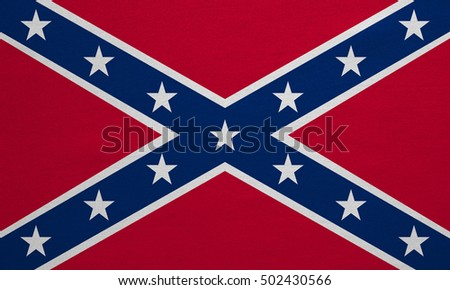 Historical national flag of the Confederate States of America. Known as Confederate Battle, Rebel, Southern Cross, Dixie flag. Patriotic symbol, banner. Flag of the CSA, fabric texture, illustration