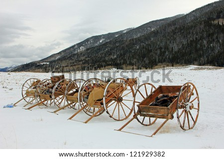 Historical pioneer handcarts in the Utah mountains, USA. - stock photo