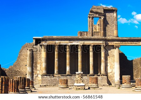 historical ruined building in Pompeii - stock photo