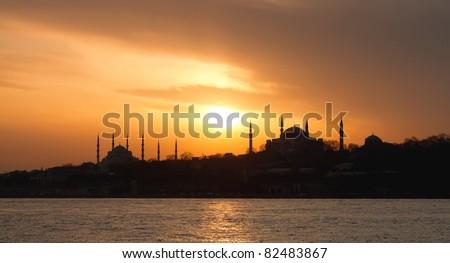 Historical Sarayburnu region in Istanbul - stock photo