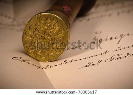 Historical seal of a noble family on a letter - stock photo