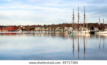 Historical Seaport in Mystic Connecticut - stock photo