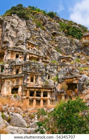 Historical tombs  in the mountains near Myra town. Turkey. - stock photo