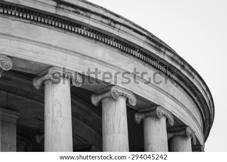 Historical & Touristic Jefferson Memorial Building With Intricate Architectural Columns Located In Washington D.C. In Black & White - stock photo