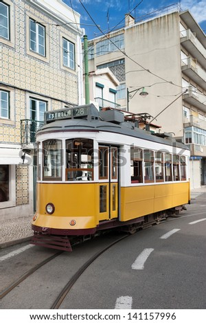 Historical tram in Lisbon partially build from wood - stock photo
