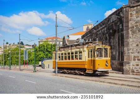 Historical Tram on the street, Porto, Portugal - stock photo