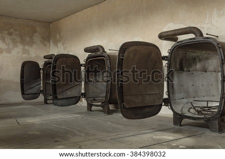 historical view of Auschwitz death camp in color - stock photo