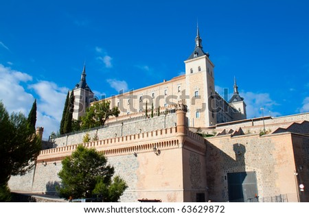 Historical  view on Alcazar fortified palace,Toledo, Spain - stock photo