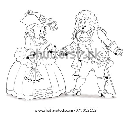 History of family. History of fashion. Cute noble man and woman in Middle Ages. Illustration for children. Coloring book. Coloring page. Cartoon characters isolated on white background.  - stock photo