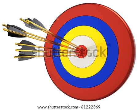 Hit a target 100 percents. Seven arrows in bull's eye target.  This is a detailed 3D render (Hi-Res). Isolated on white.