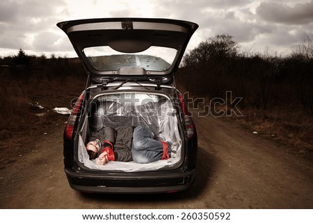 Hitch-hiking man kidnapped by criminal on local European route - stock photo