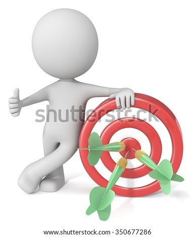 Hitting Target. Dude 3D character giving thumbs up holding dartboard. Red and white board with green dart arrows. - stock photo