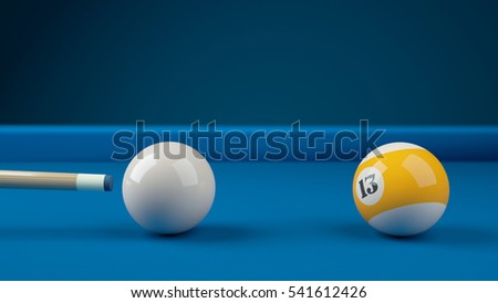 Hitting the cue ball number 13 on a blue billiard ball. Closeup 3d