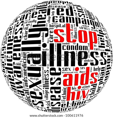 HIV AIDS term info-text graphics and arrangement with circle shape concept - stock photo