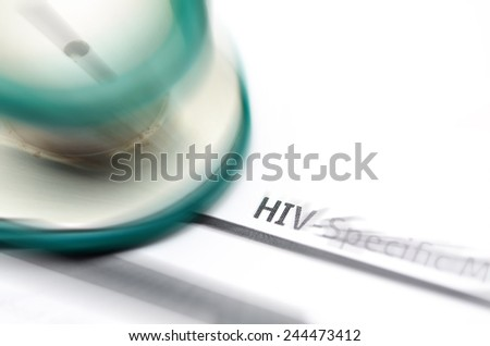 HIV report form medicine with stetrhoscope - stock photo