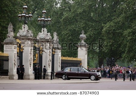 HM Queen Elizabeth II seen leaving Buckingham Palace for the wedding of HRH Prince William and Catherine Middleton, at Westminster Abbey, on 29/04/2011. Picture by: Alexandra Glen / Featureflash - stock photo