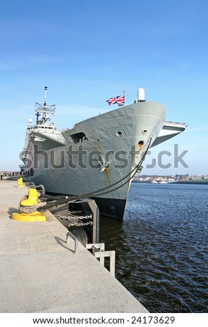 HMS Ark Royal aircraft carrier and flagship of the British Royal Navy taken with wide angle lens - stock photo