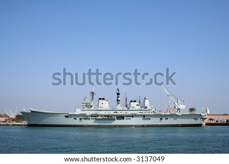 HMS Ark Royal (R07), an Invincible class aircraft carrier and flagship of the Royal Navy - stock photo