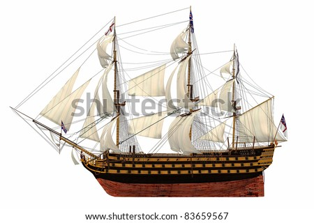 HMS Royal Navy style Tall ship built-in the 1700's. Isolated clip art cutout Illustration on clean white background. Side view showing bottom of keel to top of mast. Under full sail