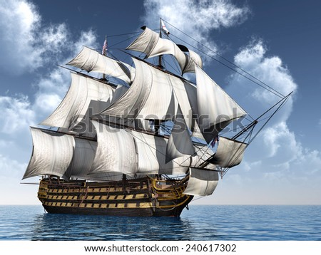 HMS Victory Computer generated 3D illustration - stock photo