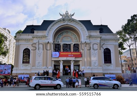 HO CHI MINH - AUGUST 13: Saigon Opera House and people meeting on August 13, 2016 in Ho Chi Minh city, VietNam. Ho Chi Minh is the biggest city in South of VietNam.