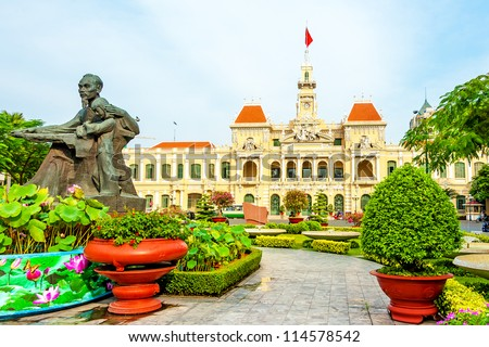 Ho Chi Minh City Hall in Ho Chi Minh City, Vietnam. It is known as Ho Chi Minh City People's Committee Head office and was built in 1902-1908. - stock photo