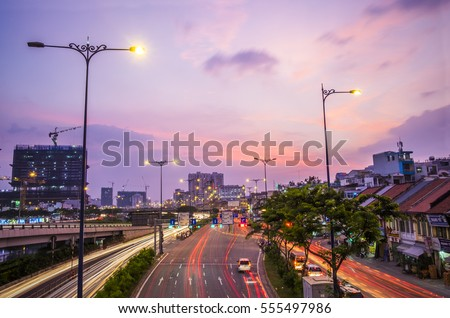 HO CHI MINH CITY, VIET NAM - JAN 14, 2017: Ho Chi Minh City landscape at dawn, Sai Gon, Viet Nam.