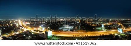 HO CHI MINH CITY, VIET NAM - JUNE 05, 2016: A nice panorama view of Ho Chi Minh City at night, Sai Gon, Viet Nam.