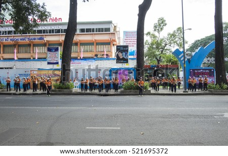 HO CHI MINH CITY, VIET NAM - NOV 24, 2016: A young band playing their concert on the street, in front of Nha Van Hoa Thanh Nien, Sai Gon, Viet Nam.
