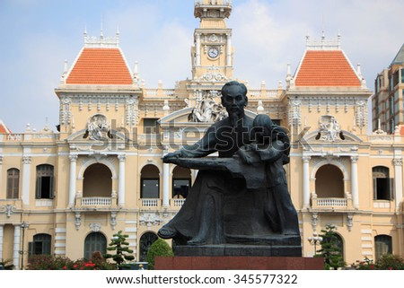 HO CHI MINH CITY, VIETNAM - APRIL 12: Ho Chi Minh City Hall on April 12, 2014 in Ho Chi Minh City. Built in French colonial style it was Saigon most iconic building and known as Hotel de Ville. - stock photo