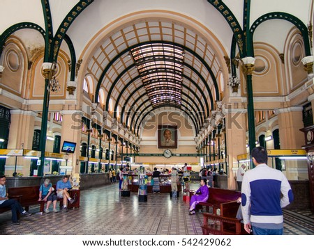 HO CHI MINH CITY, VIETNAM - CIRCA 2011 - Interior of the Central Post Office circa 2011 in Ho Chi Minh City. This post office was constructed in the late 19th century.