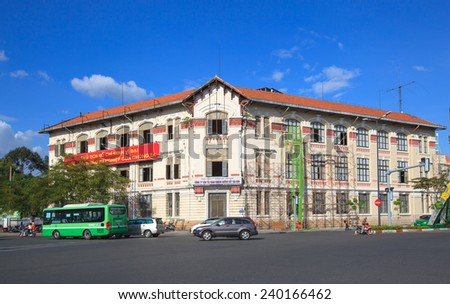 HO CHI MINH CITY, VIETNAM- DECEMBER 26, 2014 : Saigon's French colonial architecture, near Ben Thanh Market, now are gorverment office. - stock photo