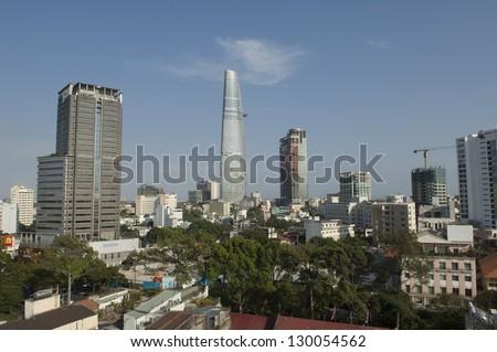 HO CHI MINH CITY, VIETNAM - FEBRUARY 16: Aerial view of Ho Chi Minh City on February 16, 2013 in Ho Chi Minh City, Vietnam.Ho Chi Minh City is the biggest city in Vietnam with 7.1 million inhabitants. - stock photo