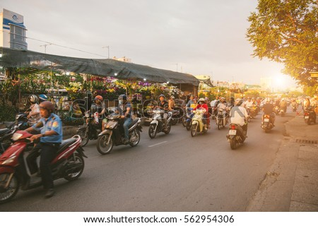 HO CHI MINH CITY, VIETNAM - Jan 24, 2017: Ben Binh Dong flower floating market. Tet Holiday or Vietnamese New Year.