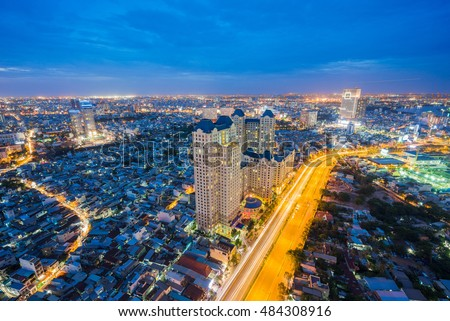 Ho Chi Minh City, Vietnam - June 25 2016 : Night view of Sai Gon Cityscape at downtown of Ho Chi Minh City, Vietnam in sunrise or sunset
