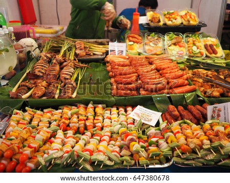 Ho Chi Minh City, Vietnam - 6 May 2017: barbecue, Bar-B-Q,Barbeque Street Food Ho Chi Minh ,market and Pork BBQ Skewers.