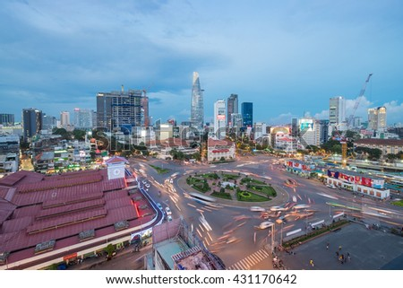 Ho Chi Minh City, Vietnam - May 28, 2016: Dusk over Ben Thanh Market and Quach Thi Trang roundabout, one of most popular attractive place for travel and tourism in the biggest city.